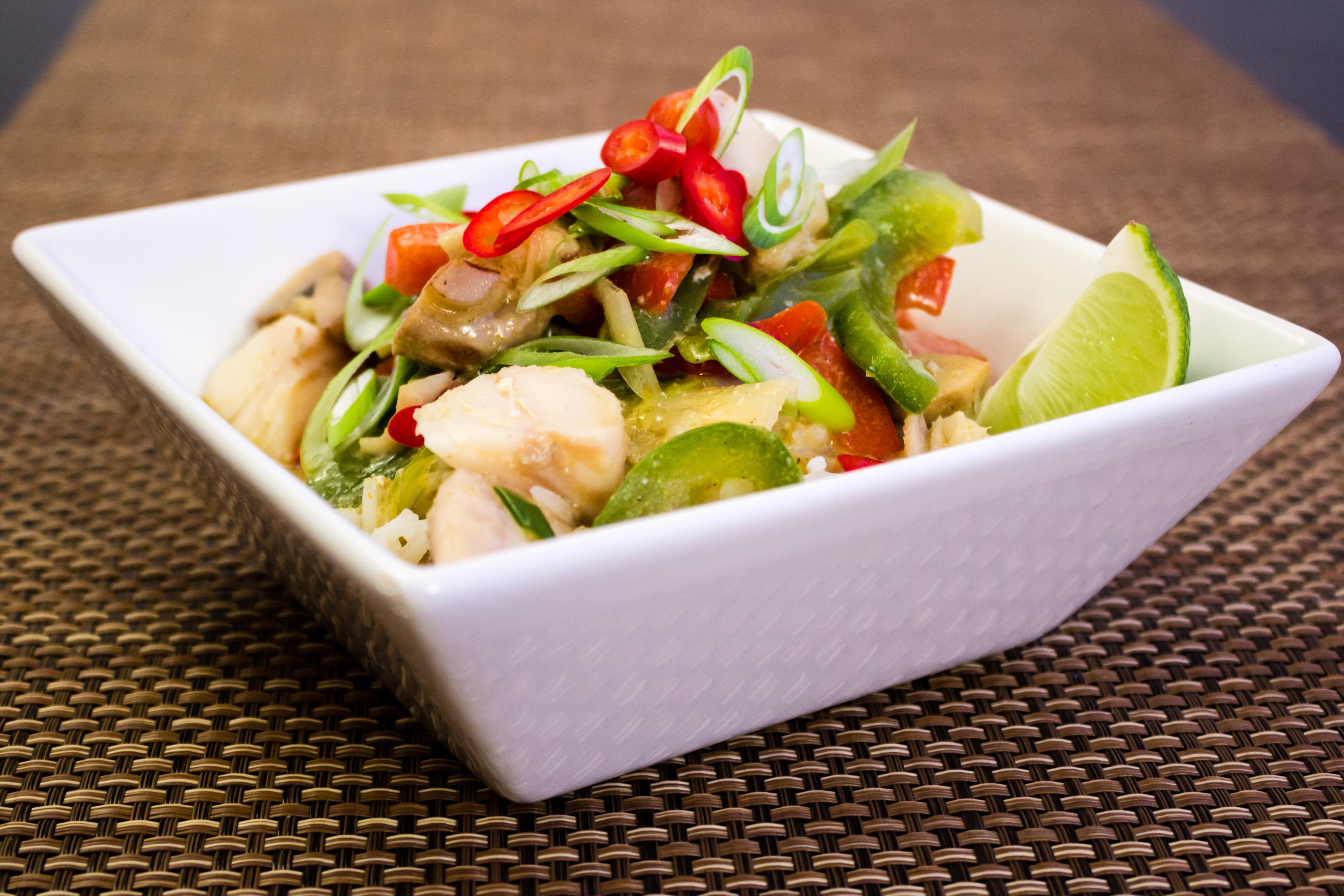 Grön thaicurry med fisk
