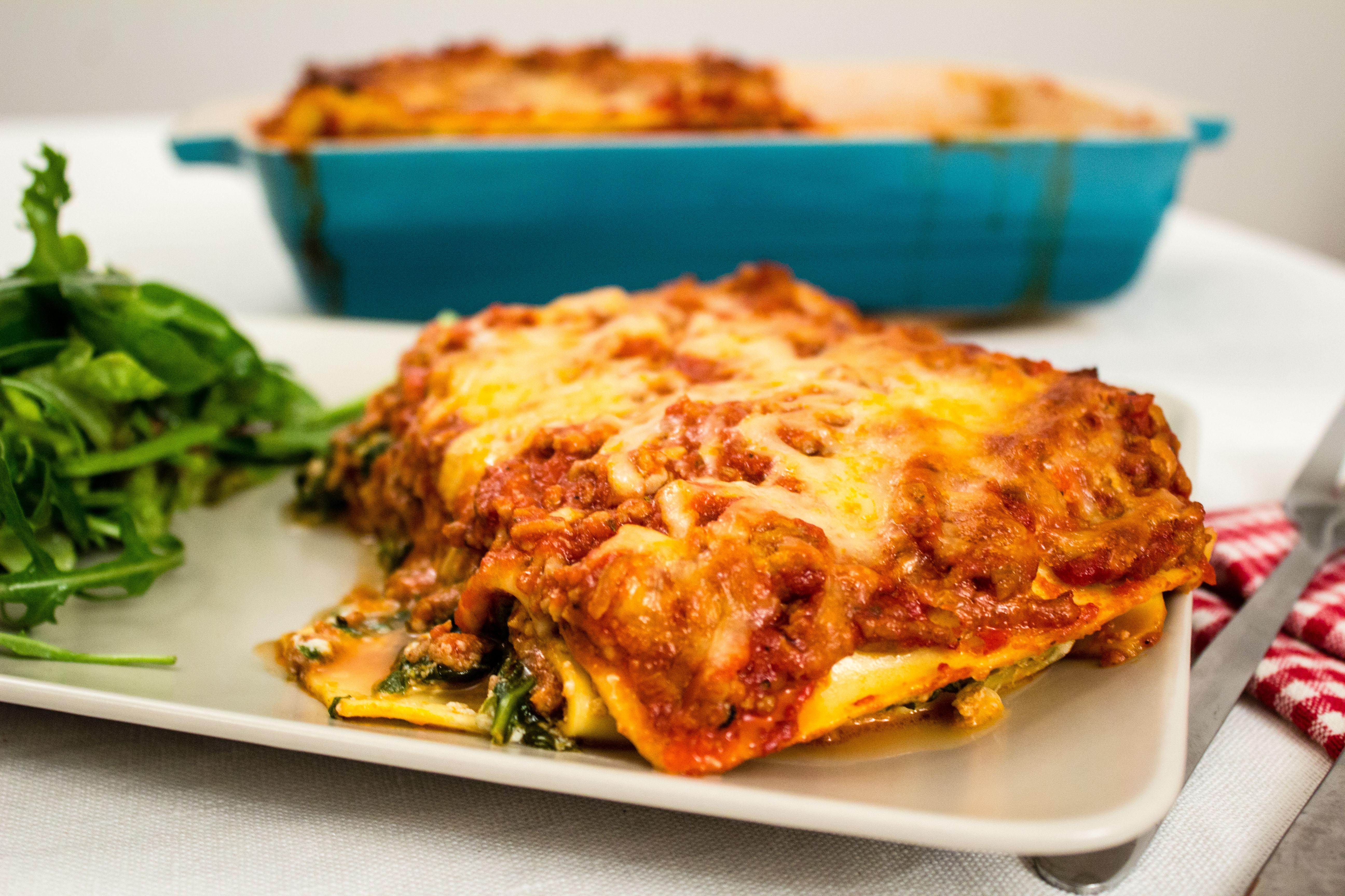 Lasagne med spenat, ricotta och salsiccia