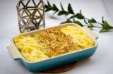 Krispig fiskgratäng med vitlöksdoftande parmesan-potatismos